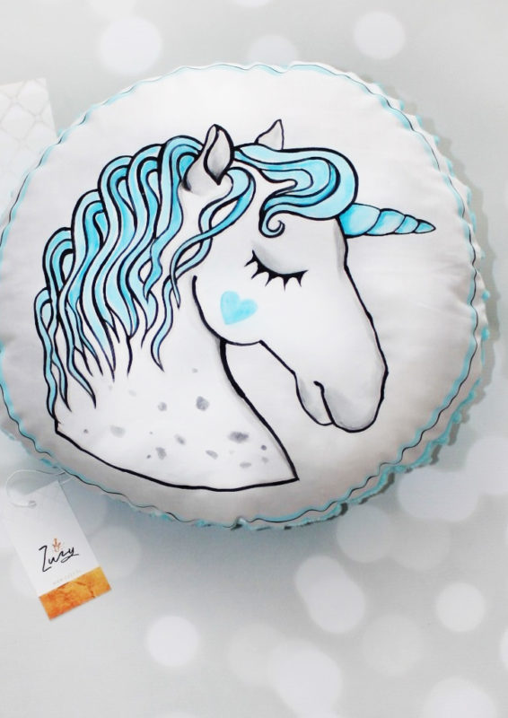 Turquoise Unicorn Cushion-0